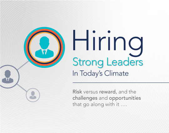 Hiring strong leaders in today's climate: risk versus reward, and the challenges and opportunities that go along with it